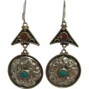 Bohemian Gypsy Indian Vintage Tibetan Yoga Coral & Turquoise Silver-Tone Naga Tribal Earrings #19