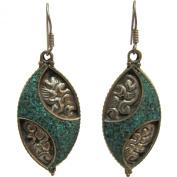 Bohemian Gypsy Indian Vintage Tibetan Yoga Turquoise Silver-Tone Naga Tribal Earrings #18