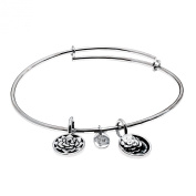 'Roses' Expandable Bangle in Brass with Rhodium Plating Bracelets