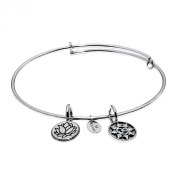 'Mantra' Expandable Bangle in Brass with Rhodium Plating Bracelets