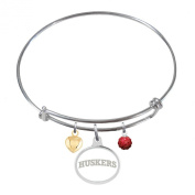 Nebraska Huskers Adjustable Bangle Bracelet with Enamel Charm