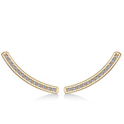 Curved Ear Cuffs Prong Set Diamond Accented for Women 14K Rose Gold