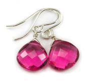 Sterling Silver Hot Pink Earrings Simulated Pink Sapphire Faceted Heart Shaped Drops