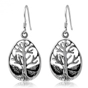 WithLoveSilver 925 Oxidised Sterling Silver Teardrop Celtic Tree of Life Dangle Hook Earrings