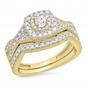 0.60 Carat (ctw) 14K Gold Round White Diamond Bridal Swirl Halo Style Split Shank Engagement Ring Set