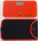 NewlineNY Red-Orange Mini Bathroom Scale + Travel Slip Case SBB0720M-NYRO + NY-MSS101-BRO