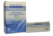 Pure Touch Tush Wipes for Adults 24 Individual Flushable Moist Wipes / 6 boxes 144 Single-Use-Packets