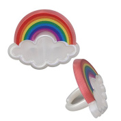 Rainbow Cupcake Topper Rings 24 Count