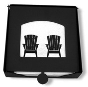 Iron 2-Piece Chairs Flat Table Napkin Holder - Black Metal