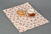 Decorative Napkin Made of Cotton and Polyamide Fabric with Floral Print and Lace