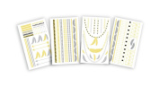 As Seen on TV Hot Jewels Metallic Temporary Tattoos-Feathers