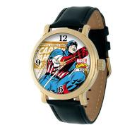 Men's Marvel Captain America Vintage Watch Shiny with Alloy Case - Black/Gold