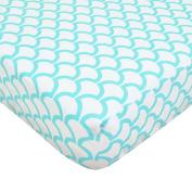 Aqua Sea Waves Fitted Crib Sheet