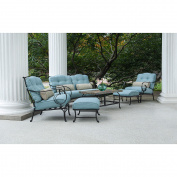 Oceana 6-Piece Patio Set in Ocean Blue with a Slate-top Coffee Table