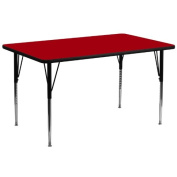 80cm W x 180cm L Rectangular Activity Table with Red Thermal Fused Laminate Top and Standard Height Adjustable Legs [XU-A3072-REC-RED-T-A-GG]