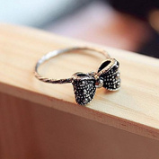 Korean Fashion Retro Lovely Sweet Rhinestone Crystal Beads Bowknot Bow Tie RingiSilverj
