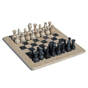 MARBLE CHESS SET Black/Coral, 30cm . includes a deluxe velvet box