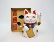 Billiken Wind up Tin Toys Luckey Cat Maneki Neko White Colar