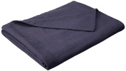Superior 100% Cotton Thermal Blanket, Soft and Breathable Cotton for All Seasons, Bed Blanket and Oversized Throw Blanket with Metro Herringbone Weave Pattern - King Size, Navy Blue