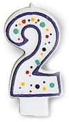 Creative Converting CANDLE-4561 Polka Dot 2 Numeral Candle, 7.6cm x 3.8cm