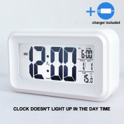 HITO™ 15cm Alarm Clock w/ Date and Temperature Display, Repeating Snooze, Light-activated Sensor Light and Touch-activated Nightlight- Batteries/ USB powered(2Gen White+charger