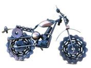 Dirt Devil Die Cast Metal Motorcycle Collectible Art-Handmade 19cm Scrap Metal Chainwheel Motorbike Sculpture-copper Finish