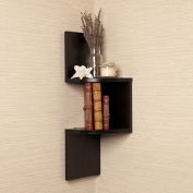DanyaB Laminated Corner Shelf in Black Finish