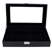 Songmics 12 Mens Black Leather Watch Box Glass Top Watch Organiser Display Case UJWB12B