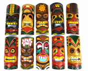 SET OF 10 HAND CARVED POLYNESIAN HAWAIIAN TIKI STYLE MASKS 30cm TALL
