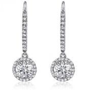1.50 ct Ladies Round Cut Diamond Drop Earrings in White Gold