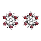 0.48 ct twt Ruby Earring Jackets mounted in 10k White Gold