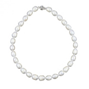 """11-12mm White Oval Freshwater Cultured Pearl Necklace, 18"""""""