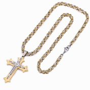 Trendsmax Stainless Steel Cross Pendant Necklace , 22inches Byzantine Chain Necklace 5mm Wide.