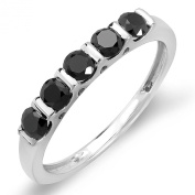 0.75 Carat (ctw) Sterling Silver Round Black Diamond Ladies Anniversary Wedding Stackable Ring 3/4 CT