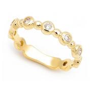 18k Yellow Gold Bezel set Diamond Semi Eternity Band Ring
