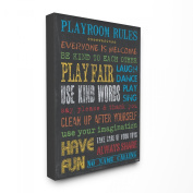 The Kids Room by Stupell Playroom Rules On Slate Grey Canvas Art