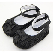 DDU(TM) 1 Pair Black- Rose Style Soft Warm Princess Shoes for Baby Girl(Size