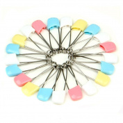 UZZO 50 Pack Colourful Safety Pins Baby Child Infant Kids Plastic Head Cloth Nappy Pins Safety Safe Hold Clip Locking Cloth Stainless Steel Traditional Safety Pin,Colour Random Send