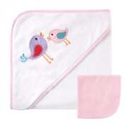 Luvable Friends Hooded Towel and Washcloth, Pink Birds