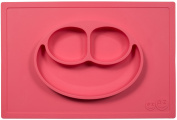 ezpz Happy Mat (Coral) - One-piece silicone placemat + plate