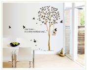 NiceSee Our Love is A Story Without End Quote Tall Tree with Birds Wall Decal Leaves Wall Sticker Decor