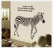 NiceSee Circle of Life Quote Zebra Wall Mural Home Decor Sticker