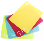 Neoflam Flexible Cutting Mats with Non-Slip Grip (Set of 4), Multicolor