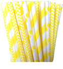 Yellow Stripe, Chevron and Polka Dot Paper Straw Combo-100% Biodegradable-20cm -Pack of 75