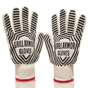 Grill Armour 932°F Extreme Heat Resistant Oven Gloves - EN407 Certified BBQ Gloves For Cooking, Grilling, Baking - Extra Long Cuff