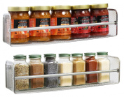 DecoBros Chrome 2 Pack Wall Mount Single Tier Mesh Spice Rack, Chrome