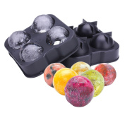 ROUNDSQUARE Silicone Ice Ball Maker Mould Tray - Makes a Total of 4 Slow-Melting 4.5cm Round Spheres Ice for Drinks and Whiskey - FDA Approved, Nontoxic Food Safe