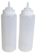 SET of 3, 950ml (Ounce) Large Clear Squeeze Bottle, Condiment Squeeze Bottle, Open-tip, Wide Screw-on Spout, Polyethylene Durable Plastic, Diner Style.