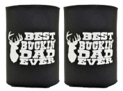 Funny Beer Coolie Best Buckin' Dad Father's Day Gift for Dad 2 Pack Can Drink Coolers Coolies Black