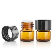 1/4 Dram AMBER Glass Vial - Screw Cap w/ Orifice Reducer - Pack of 24